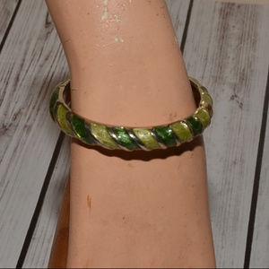 vintage green stripe enamel clamper bracelet